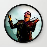 u2 Wall Clocks featuring U2 / Bono 2 by JR van Kampen