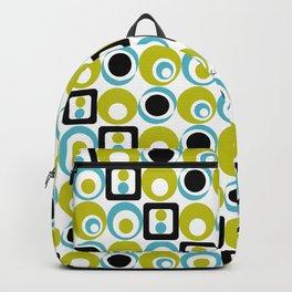 Lime Turq Black White Circles Squares Backpack