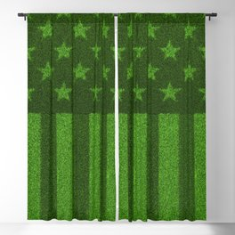 The grass and stripes / 3D render of USA flag grown from grass Blackout Curtain