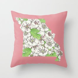 Missouri in Flowers Throw Pillow