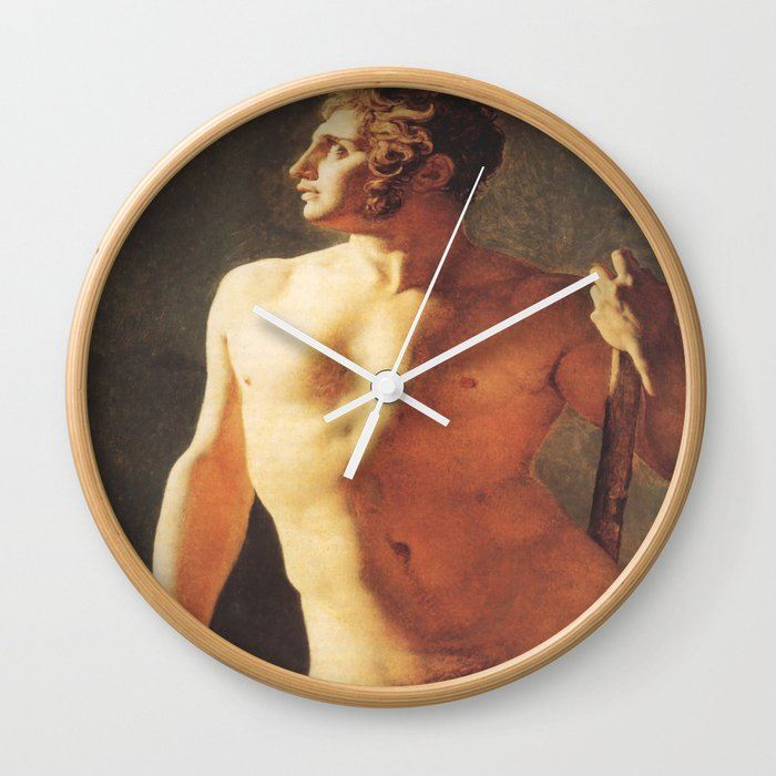 A Male Torso by Jean-Auguste-Dominique Ingres Wall Clock