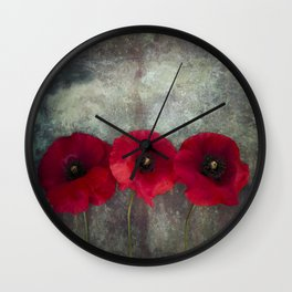 Three red poppies Wall Clock