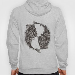 Pisces - Fish Koi - Japanese Tattoo Style (black and white) Hoody