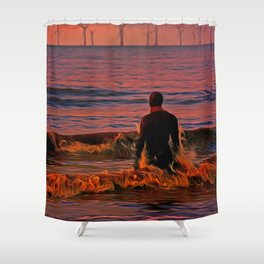 In the surf at Sunset Shower Curtain