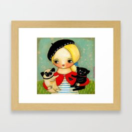 French girl with black pug and fawn pug Framed Art Print
