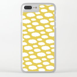 White Clouds on Mustard Yellow Clear iPhone Case