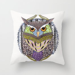 Poorly Camouflaged Owl Throw Pillow