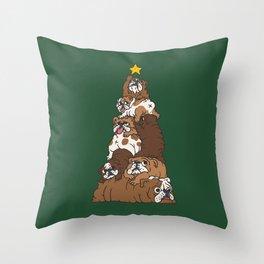 Christmas Tree English Bulldog Throw Pillow