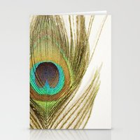 peacock feather Stationery Cards featuring Peacock Feather by Kimberly Blok