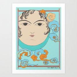 Turquoise Moon face Art Print