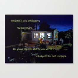 """""""Night Studio #11"""" with poem: I Hate To Be Rude Canvas Print"""