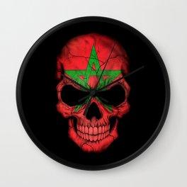 Dark Skull with Flag of Morocco Wall Clock
