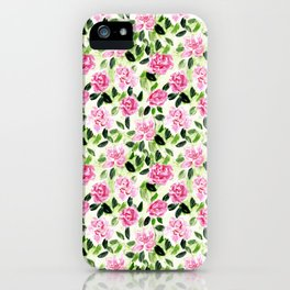 Pink and Green Garden Floral Pattern iPhone Case