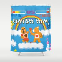 carnage Shower Curtains featuring Care Bear Carnage by Jude Buffum