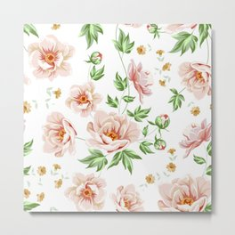 Pink Rose Floral Metal Print