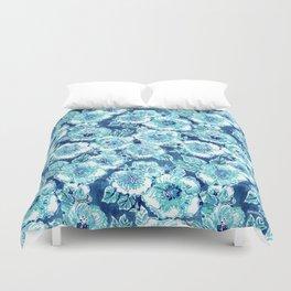 HIBISCUS BOUNTY Blue Tropical Watercolor Duvet Cover