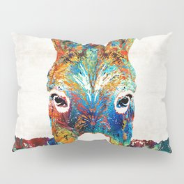 Colorful Donkey Art - Mr. Personality - By Sharon Cummings Pillow Sham