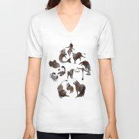 zodiac V-neck T-shirts featuring Skeleton zodiac by Rozenn