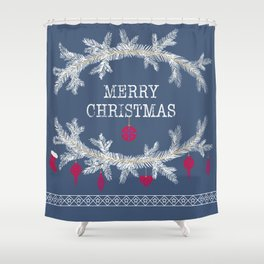 Merry christmas and happy new year greeting card wreath background Shower Curtain