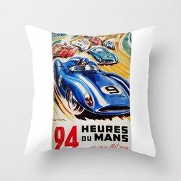 Le Mans 1956, vintage poster, Le Mans t-shirt, 24hs Le Mans Throw Pillow