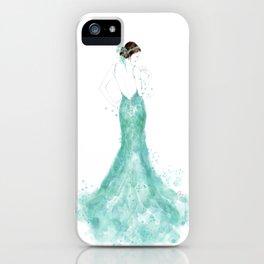 Fashion illustration mermaid dress in mint iPhone Case