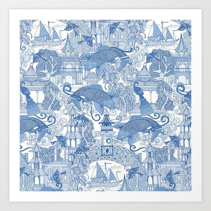 chinoiserie toile blue Kunstdrucke
