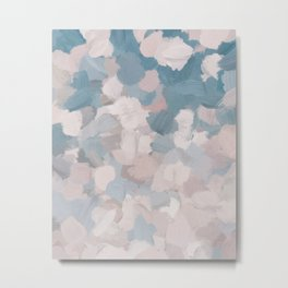 Teal Blue Sky Blush Pink Falling Spring Flower Blossoms Abstract Nature Floral Painting Art Print Wall Decor  Metal Print
