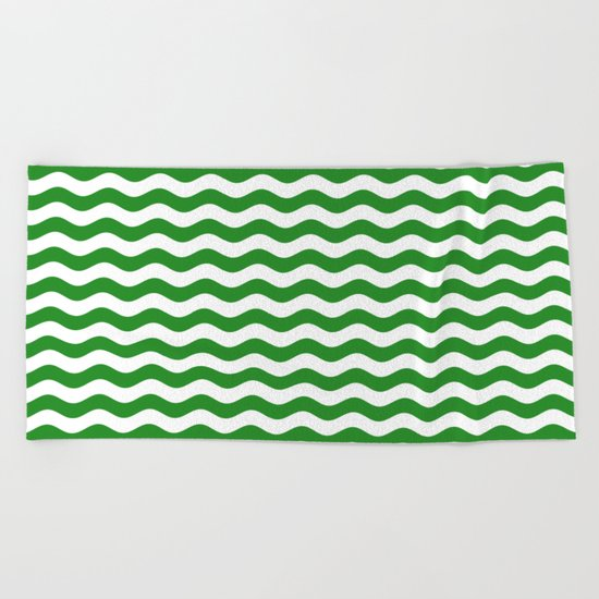 Wavy Stripes (Forest Green/White) Beach Towel