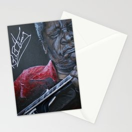 African American Masterpiece, B. B. King Plays New Orleans Guitar Prodigy portrait painting by Nunez Stationery Cards