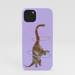 Brachiosaurus the Hula Hoops Dancer in Purple iPhone Case