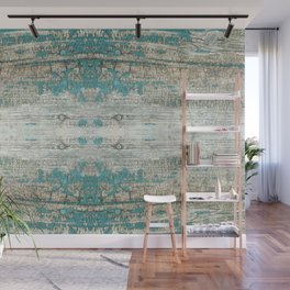Rustic Wood Turquoise Weathered Paint Wood Grain Wall Mural
