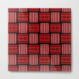 Red African Pattern Weave Metal Print