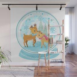 Winter Wonderland Reindeer Snow Globe Wall Mural