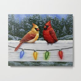 Cardinals and Colorful Christmas Lights Metal Print
