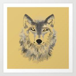 Wolf Face - Gold Art Print