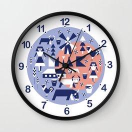 Farm. Seamless pattern. Wall Clock