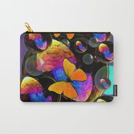 COLORFUL FUN  BUBBLES & YELLOW BUTTERFLIES PURPLE FANTASY Carry-All Pouch