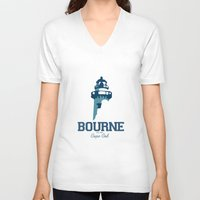 cape cod V-neck T-shirts featuring Bourne Cape Cod by America Roadside