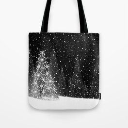Elegant Black and White Christmas Trees Holiday Pattern Tote Bag