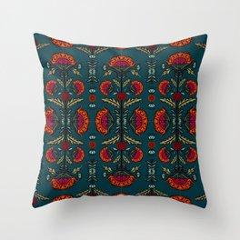 Spanish Blooms - Turquoise Throw Pillow