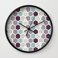 honeycomb Wall Clocks featuring Honeycomb by Kathrin Legg