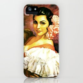 Jesus Helguera Painting of a Mexican Calendar Girl with Fan iPhone Case