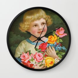Child with roses | Kind mit Rosenstrauss Wall Clock