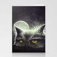 owl Stationery Cards featuring Owl & The Moon by Dctr. Lukas Brezak
