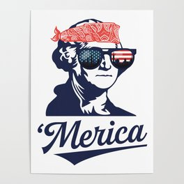 Merica George Washington Poster