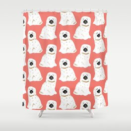 Staffordshire Dog Figurines No. 1 in  Neon Peach Shower Curtain