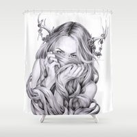 sister Shower Curtains featuring Begonia's Sister by April Alayne