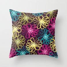 Drybrush Floral Throw Pillow