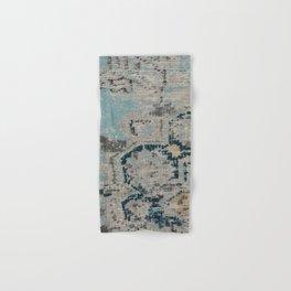 Aqua and Gray Vintage Kilim Square Hand & Bath Towel