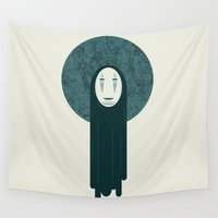 spirited away Wall Tapestries featuring Spirited away, no face  by Lewys Williams